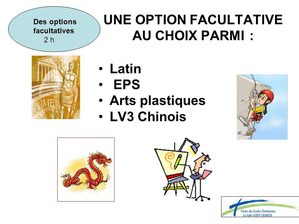 UNE OPTION FACULTATIVE AU CHOIX PARMI : Latin EPS Arts plastiques LV3 Chinois Des options facultatives 2 h