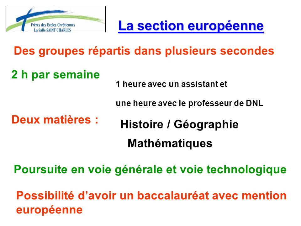 La section européenne Des groupes répartis dans plusieurs secondes 2 h par semaine Deux matières : Histoire / Géographie Mathématiques 1 heure avec un
