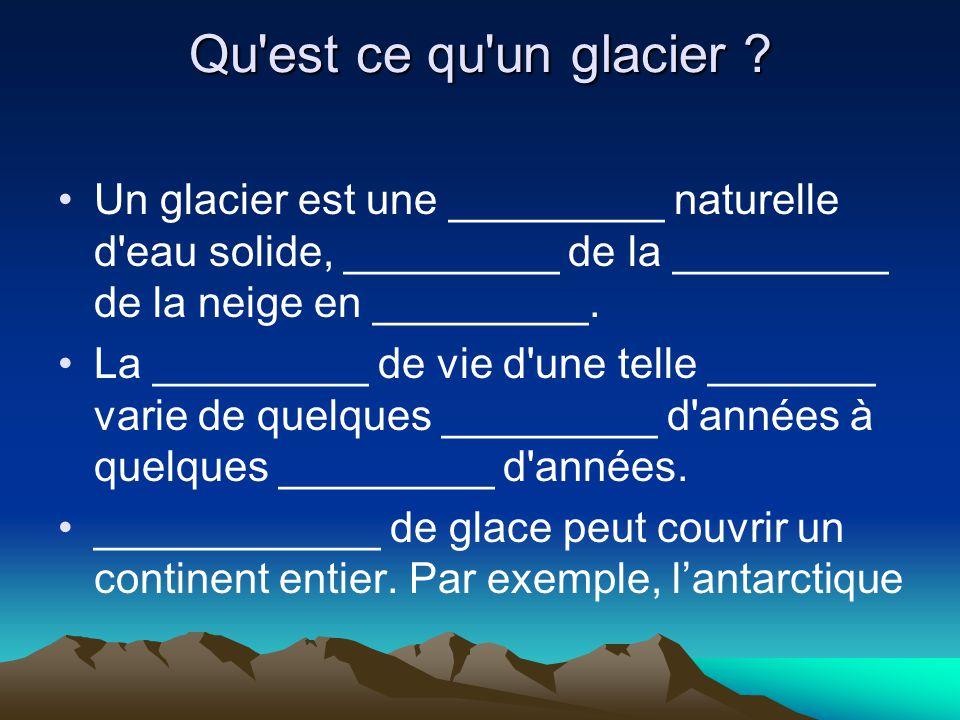Qu'est ce qu'un glacier ? Un glacier est une _________ naturelle d'eau solide, _________ de la _________ de la neige en _________. La _________ de vie