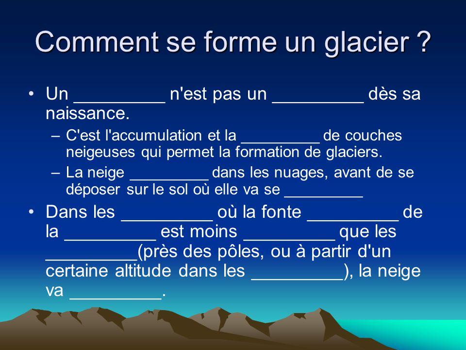 Comment se forme un glacier ? Un _________ n'est pas un _________ dès sa naissance. –C'est l'accumulation et la _________ de couches neigeuses qui per