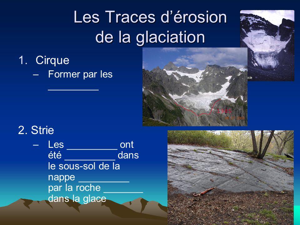 Les Traces d'érosion de la glaciation 1.Cirque –Former par les _________ 2. Strie –Les _________ ont été _________ dans le sous-sol de la nappe ______