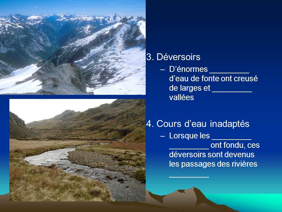 3. Déversoirs –D'énormes _________ d'eau de fonte ont creusé de larges et _________ vallées 4. Cours d'eau inadaptés –Lorsque les _________ _________