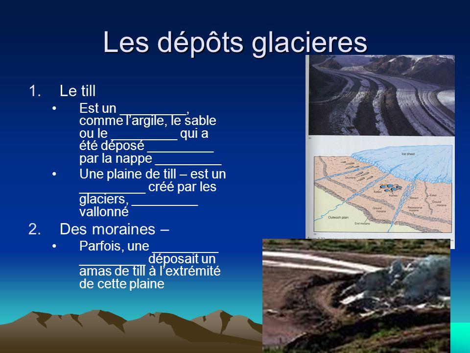 Les dépôts glacieres 1.Le till Est un _________, comme l'argile, le sable ou le _________ qui a été déposé _________ par la nappe _________ Une plaine