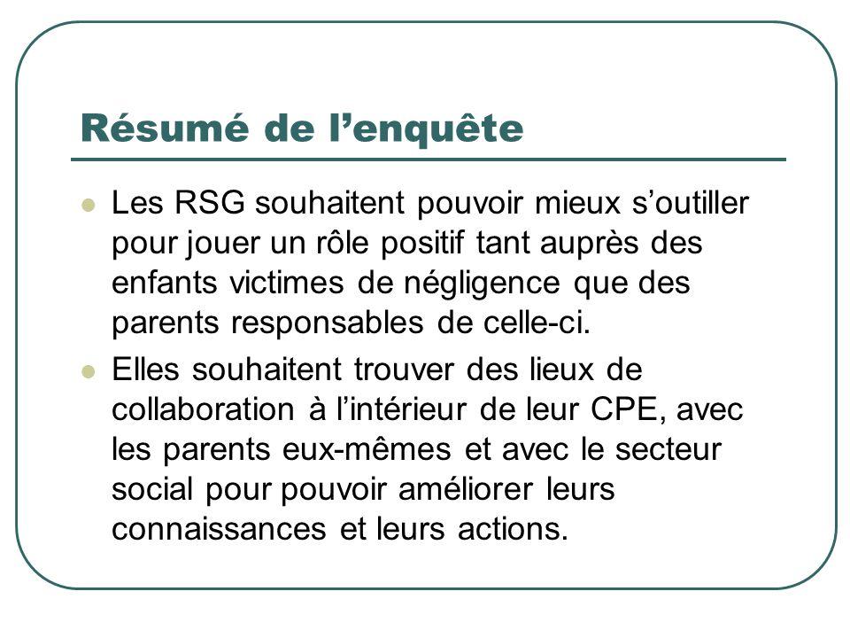 Résumé de l'enquête Les RSG souhaitent pouvoir mieux s'outiller pour jouer un rôle positif tant auprès des enfants victimes de négligence que des pare