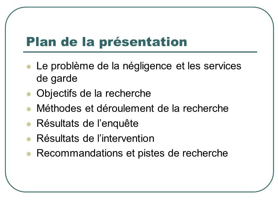 Plan de la présentation Le problème de la négligence et les services de garde Objectifs de la recherche Méthodes et déroulement de la recherche Résult