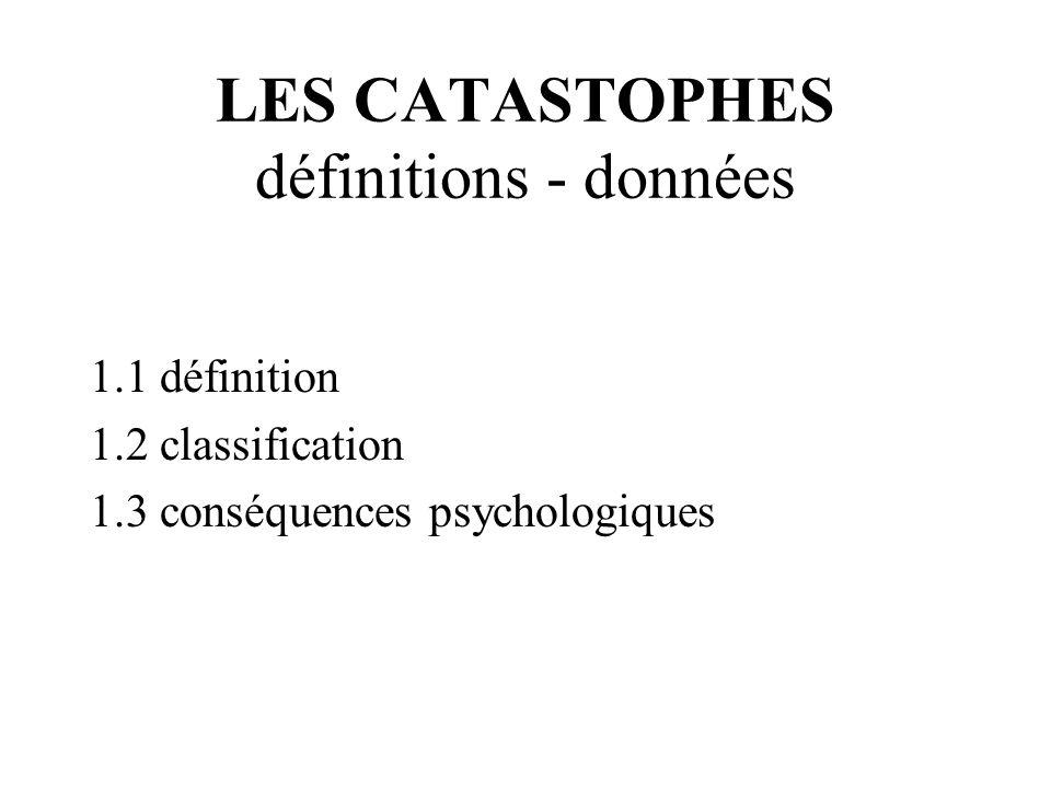 CATASTROPHES : DEFINITION Événement destructeur : dont la survenue est généralement brutale et imprévue l'origine est inhabituelle