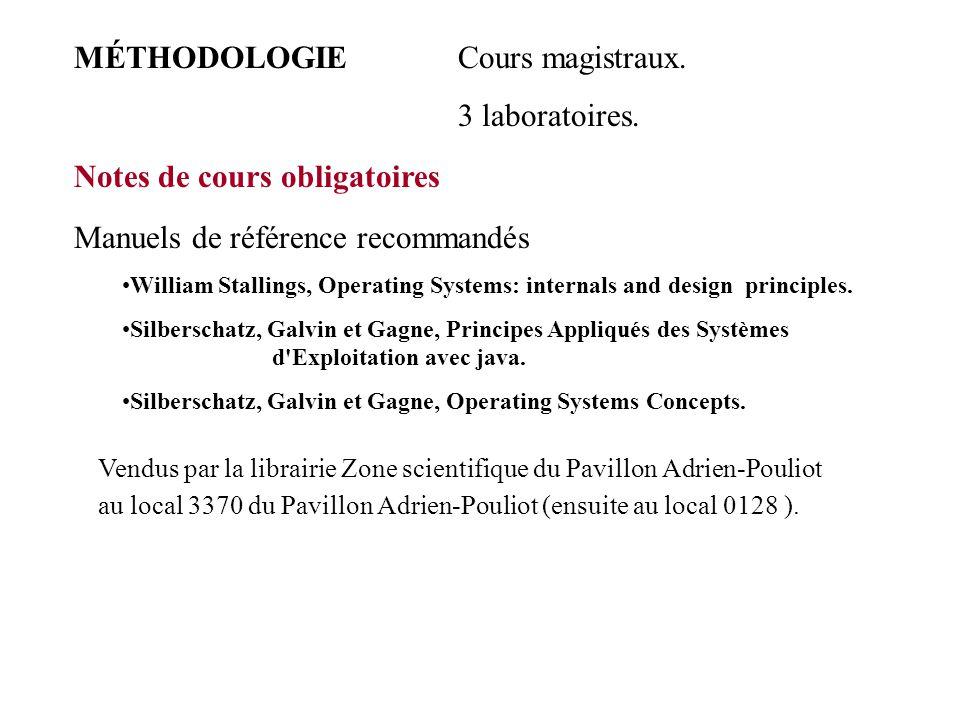 MÉTHODOLOGIE Cours magistraux. 3 laboratoires. Notes de cours obligatoires Manuels de référence recommandés William Stallings, Operating Systems: inte