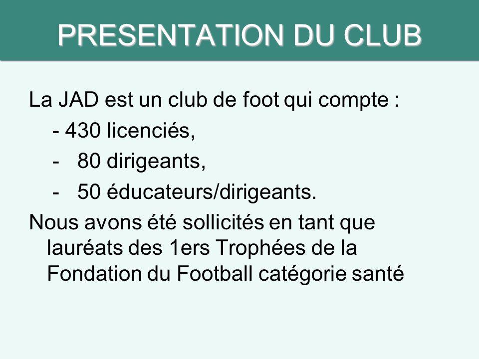 PRESENTATION DU CLUB La JAD est un club de foot qui compte : - 430 licenciés, - 80 dirigeants, - 50 éducateurs/dirigeants.