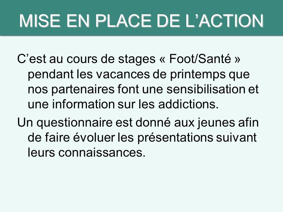 MISE EN PLACE DE L'ACTION C'est au cours de stages « Foot/Santé » pendant les vacances de printemps que nos partenaires font une sensibilisation et une information sur les addictions.