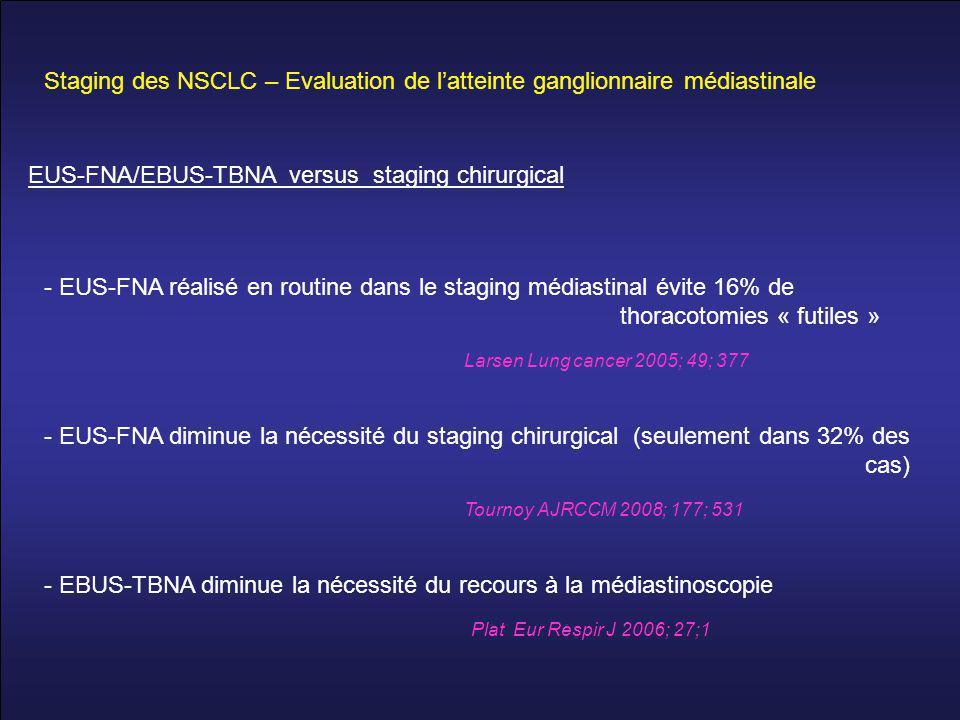 Staging des NSCLC – Evaluation de l'atteinte ganglionnaire médiastinale - EUS-FNA réalisé en routine dans le staging médiastinal évite 16% de thoracotomies « futiles » Larsen Lung cancer 2005; 49; 377 - EUS-FNA diminue la nécessité du staging chirurgical (seulement dans 32% des cas) Tournoy AJRCCM 2008; 177; 531 - EBUS-TBNA diminue la nécessité du recours à la médiastinoscopie Plat Eur Respir J 2006; 27;1 EUS-FNA/EBUS-TBNA versus staging chirurgical