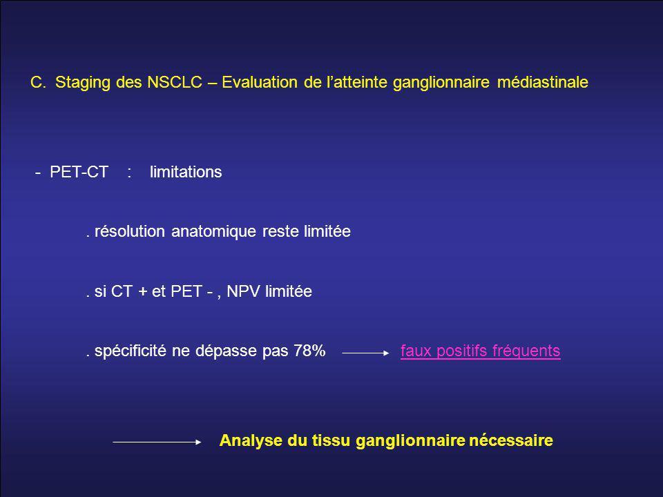 C.Staging des NSCLC – Evaluation de l'atteinte ganglionnaire médiastinale - PET-CT : limitations.