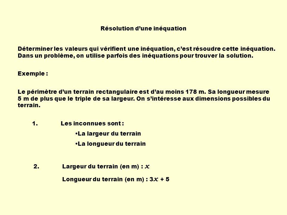 Résolution d'une inéquation Déterminer les valeurs qui vérifient une inéquation, c'est résoudre cette inéquation.