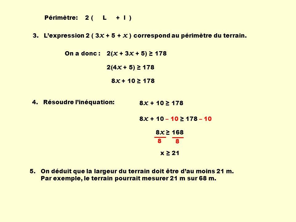 3.L'expression 2 ( 3 x + 5 + x ) correspond au périmètre du terrain. 4.Résoudre l'inéquation: 5. On déduit que la largeur du terrain doit être d'au mo