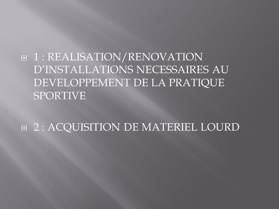  1 : REALISATION/RENOVATION D'INSTALLATIONS NECESSAIRES AU DEVELOPPEMENT DE LA PRATIQUE SPORTIVE  2 : ACQUISITION DE MATERIEL LOURD