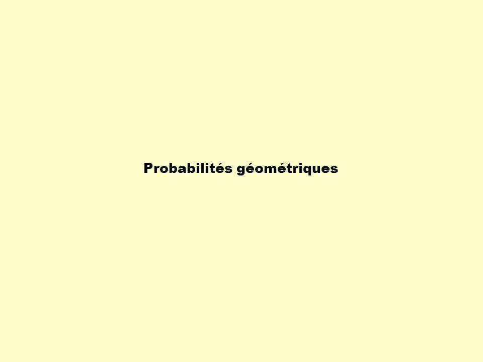 Probabilité géométrique La probabilité géométrique est liée à la réalisation d'un résultat d'une expérience aléatoire dans un contexte géométrique.