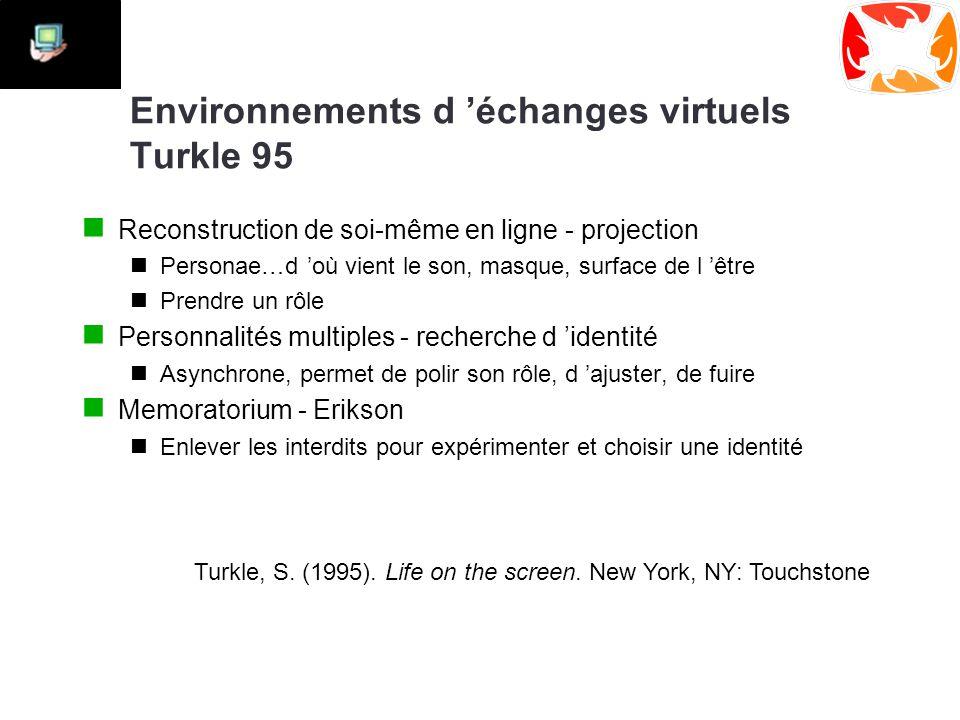 Environnements d 'échanges virtuels Turkle 95 Reconstruction de soi-même en ligne - projection Personae…d 'où vient le son, masque, surface de l 'être Prendre un rôle Personnalités multiples - recherche d 'identité Asynchrone, permet de polir son rôle, d 'ajuster, de fuire Memoratorium - Erikson Enlever les interdits pour expérimenter et choisir une identité Turkle, S.