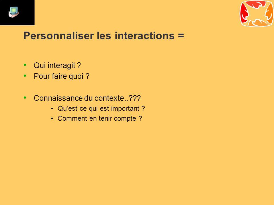 Personnaliser les interactions = Qui interagit . Pour faire quoi .