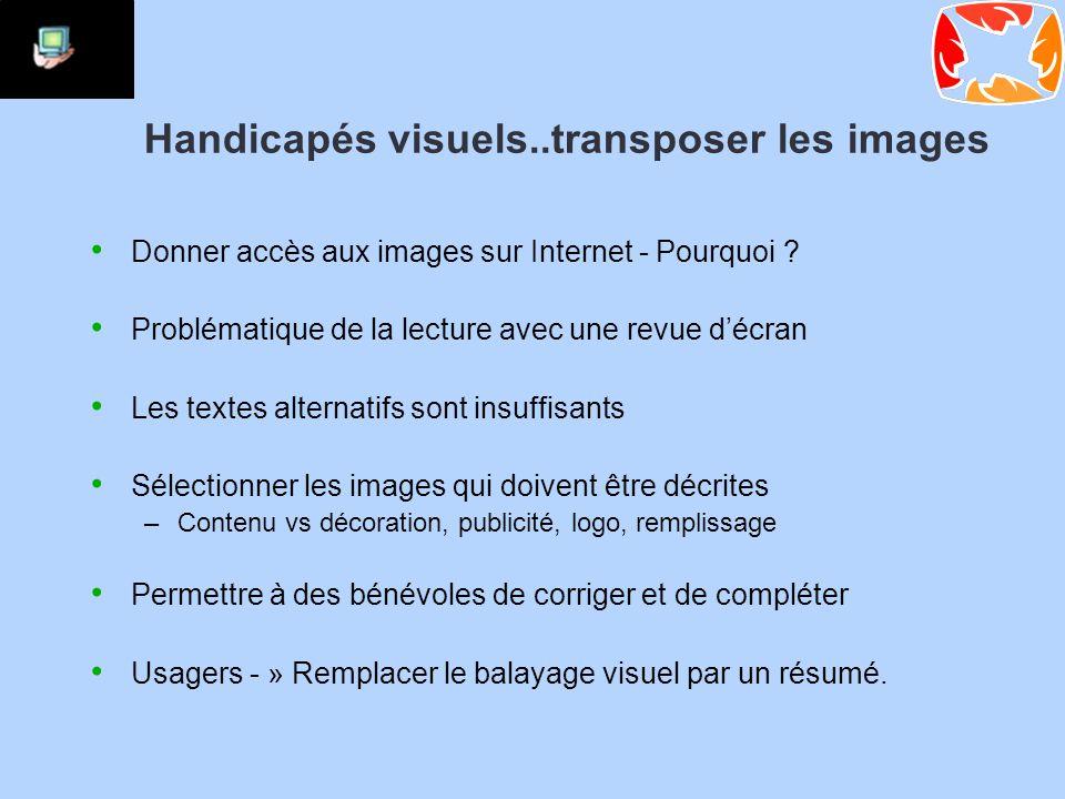 Handicapés visuels..transposer les images Donner accès aux images sur Internet - Pourquoi .