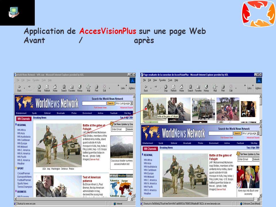 Application de AccesVisionPlus sur une page Web Avant/après