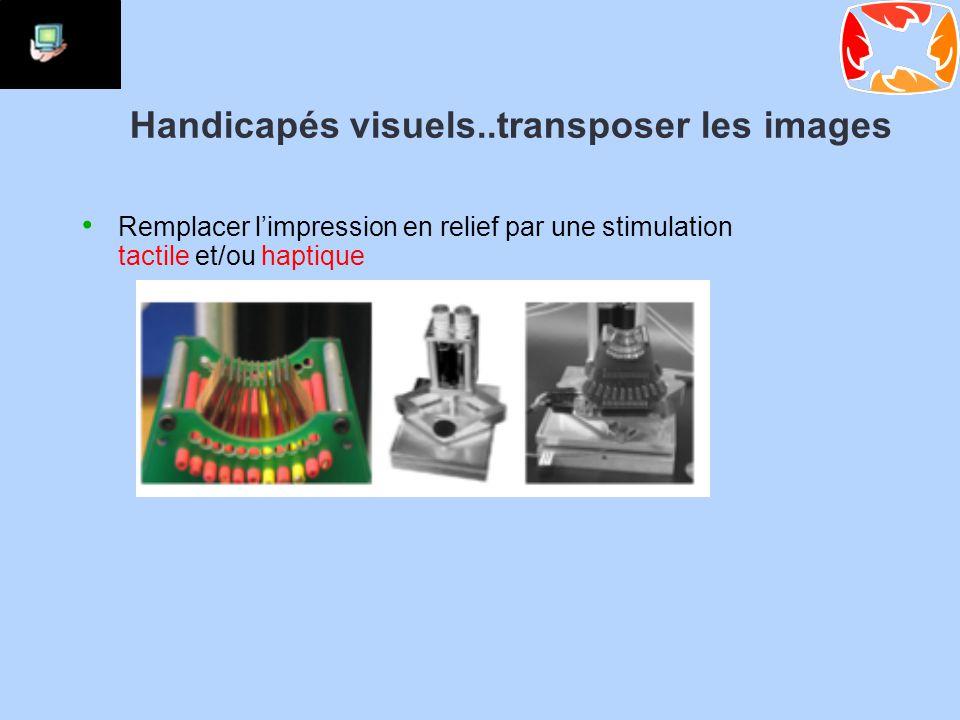 Handicapés visuels..transposer les images Remplacer l'impression en relief par une stimulation tactile et/ou haptique