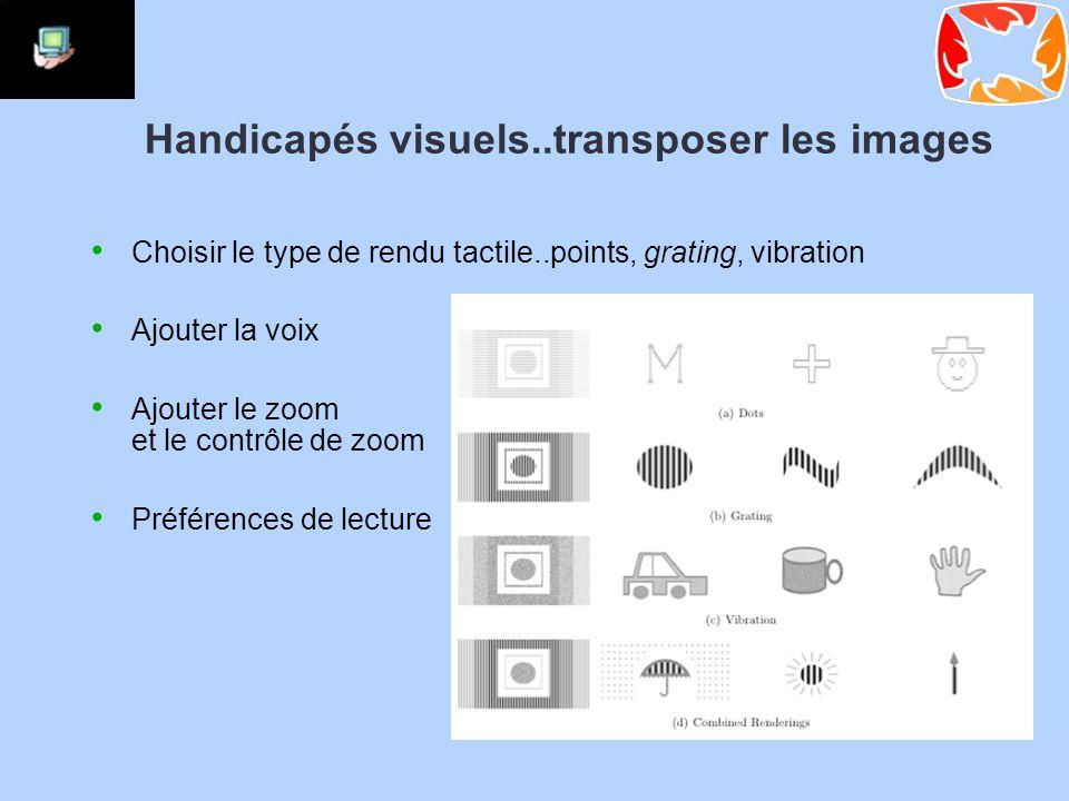 Handicapés visuels..transposer les images Choisir le type de rendu tactile..points, grating, vibration Ajouter la voix Ajouter le zoom et le contrôle de zoom Préférences de lecture