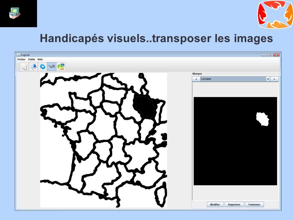 Handicapés visuels..transposer les images Développer une interface pour Simplifier les images Extraire les masques pour le rendu Ajouter les descriptions vocales Expérimenter avec des non-voyants