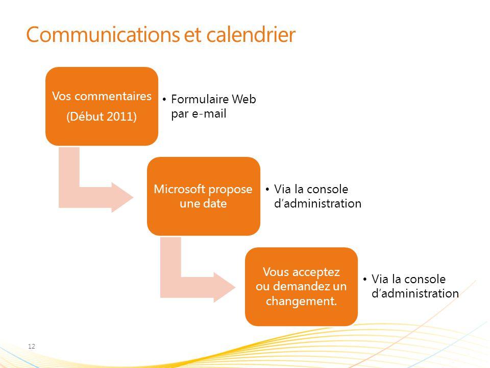 Communications et calendrier Vos commentaires (Début 2011) Formulaire Web par e-mail Microsoft propose une date Via la console d'administration Vous acceptez ou demandez un changement.