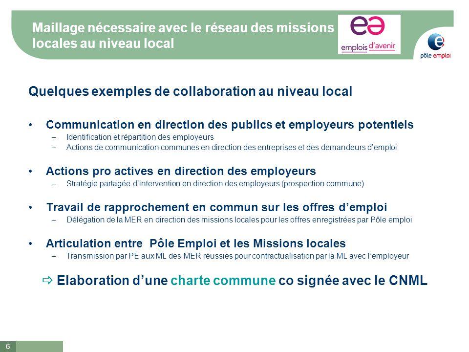 6 Maillage nécessaire avec le réseau des missions locales au niveau local Quelques exemples de collaboration au niveau local Communication en directio
