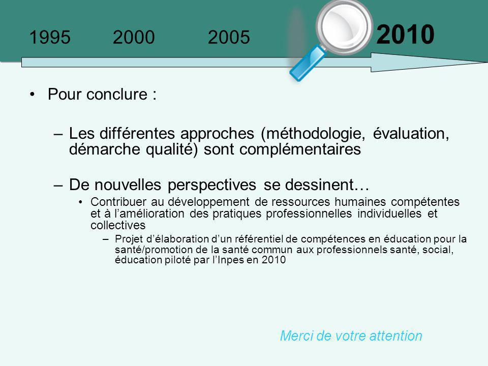1995 2000 2005 2010 Pour conclure : –Les différentes approches (méthodologie, évaluation, démarche qualité) sont complémentaires –De nouvelles perspec