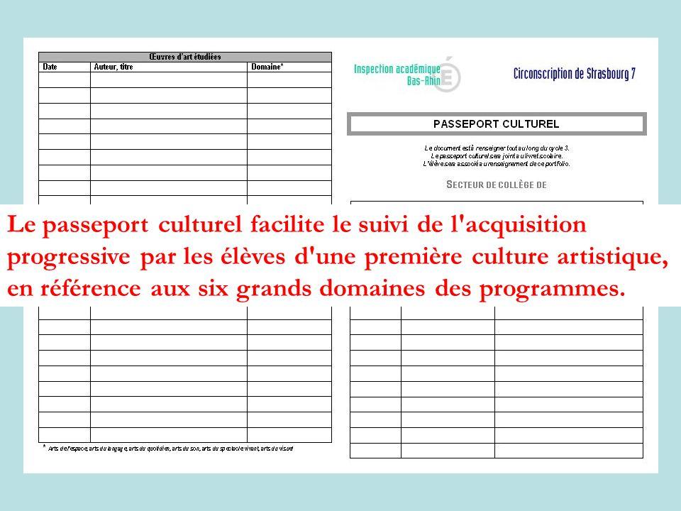 Le passeport culturel facilite le suivi de l'acquisition progressive par les élèves d'une première culture artistique, en référence aux six grands dom