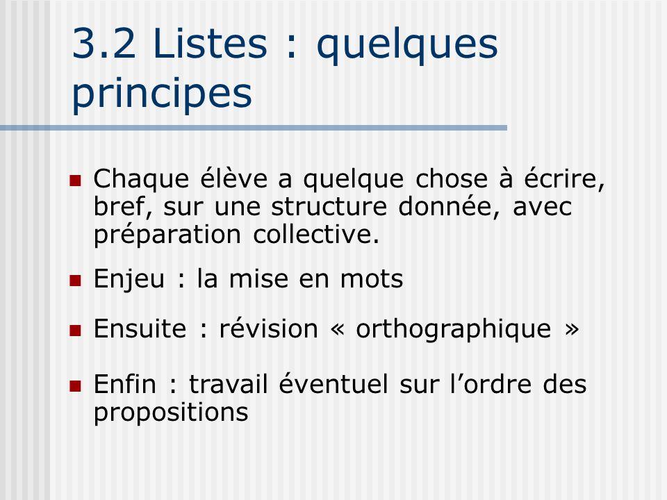3.2 Listes : quelques principes Chaque élève a quelque chose à écrire, bref, sur une structure donnée, avec préparation collective. Enjeu : la mise en