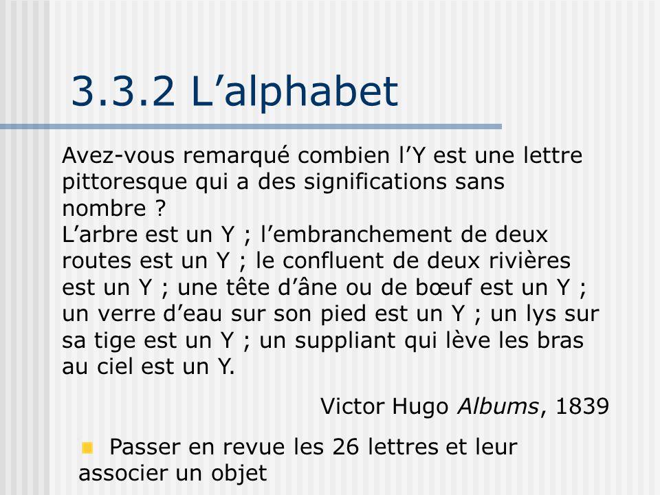 3.3.2 L'alphabet Avez-vous remarqué combien l'Y est une lettre pittoresque qui a des significations sans nombre ? L'arbre est un Y ; l'embranchement d