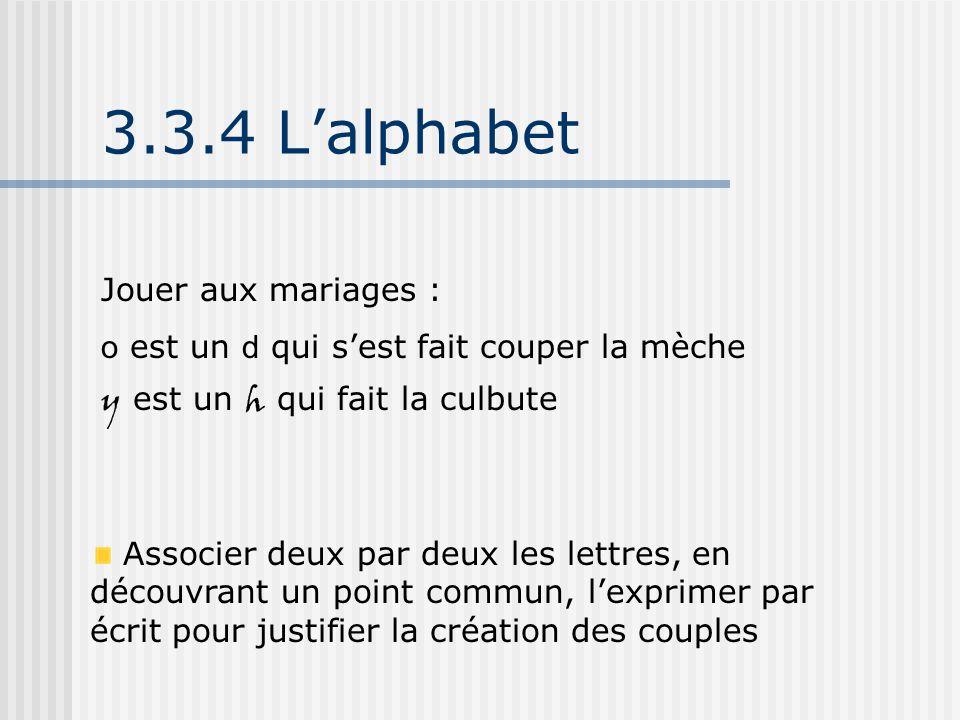 3.3.4 L'alphabet Jouer aux mariages : o est un d qui s'est fait couper la mèche y est un h qui fait la culbute Associer deux par deux les lettres, en