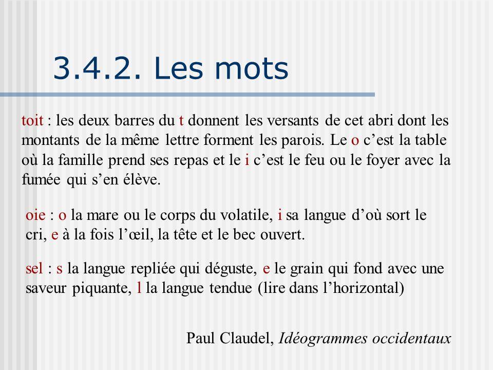 3.4.2. Les mots toit : les deux barres du t donnent les versants de cet abri dont les montants de la même lettre forment les parois. Le o c'est la tab