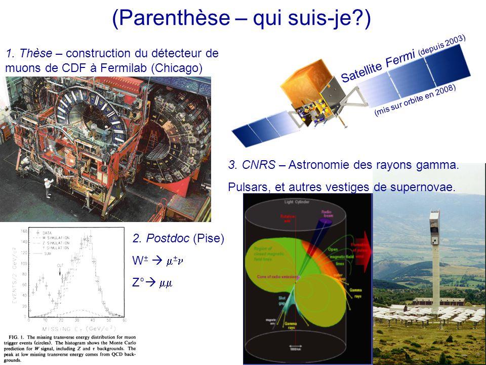 (Parenthèse – qui suis-je?) 1. Thèse – construction du détecteur de muons de CDF à Fermilab (Chicago) 2. Postdoc (Pise) W ±   ± Z°   3. CNRS – As