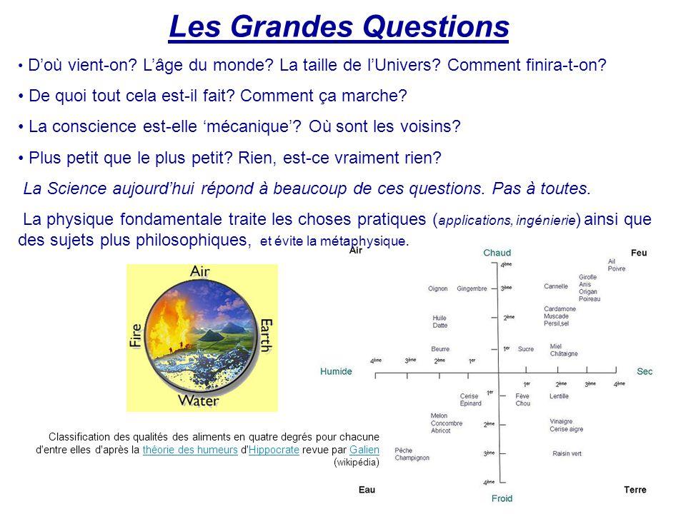 Les Grandes Questions D'où vient-on? L'âge du monde? La taille de l'Univers? Comment finira-t-on? De quoi tout cela est-il fait? Comment ça marche? La