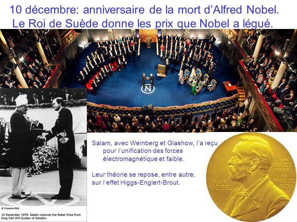 10 décembre: anniversaire de la mort d'Alfred Nobel. Le Roi de Suède donne les prix que Nobel a légué. Salam, avec Weinberg et Glashow, l'a reçu pour