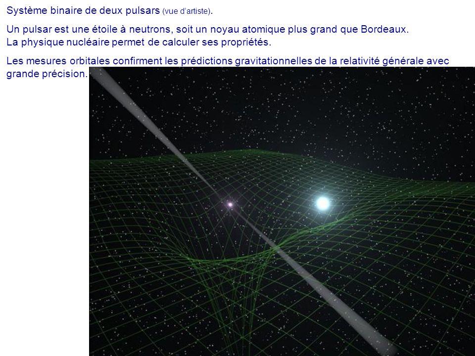 Système binaire de deux pulsars (vue d'artiste). Un pulsar est une étoile à neutrons, soit un noyau atomique plus grand que Bordeaux. La physique nucl