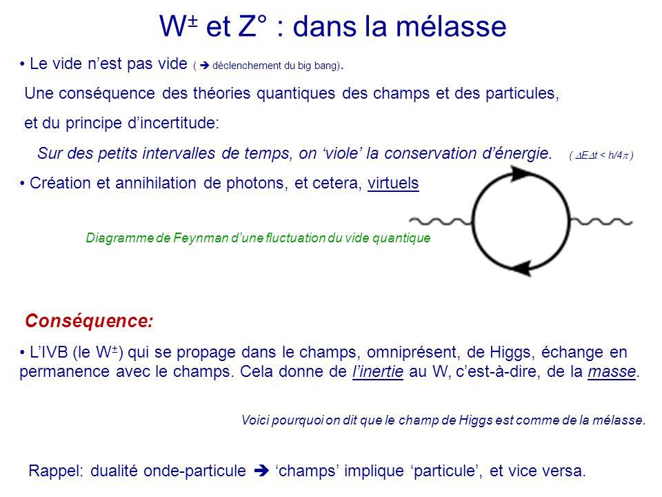W ± et Z° : dans la mélasse Le vide n'est pas vide (  déclenchement du big bang). Une conséquence des théories quantiques des champs et des particule