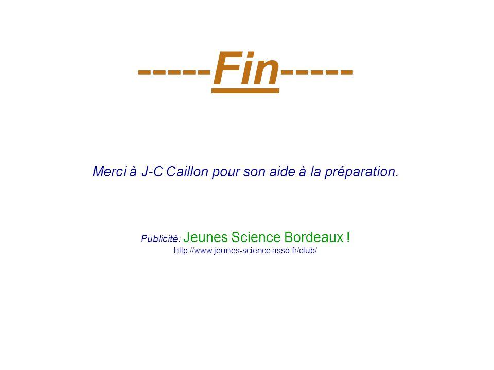 -----Fin----- Merci à J-C Caillon pour son aide à la préparation. Publicité: Jeunes Science Bordeaux ! http://www.jeunes-science.asso.fr/club/