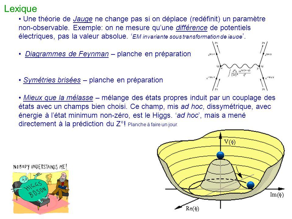 Lexique Une théorie de Jauge ne change pas si on déplace (redéfinit) un paramètre non-observable. Exemple: on ne mesure qu'une différence de potentiel