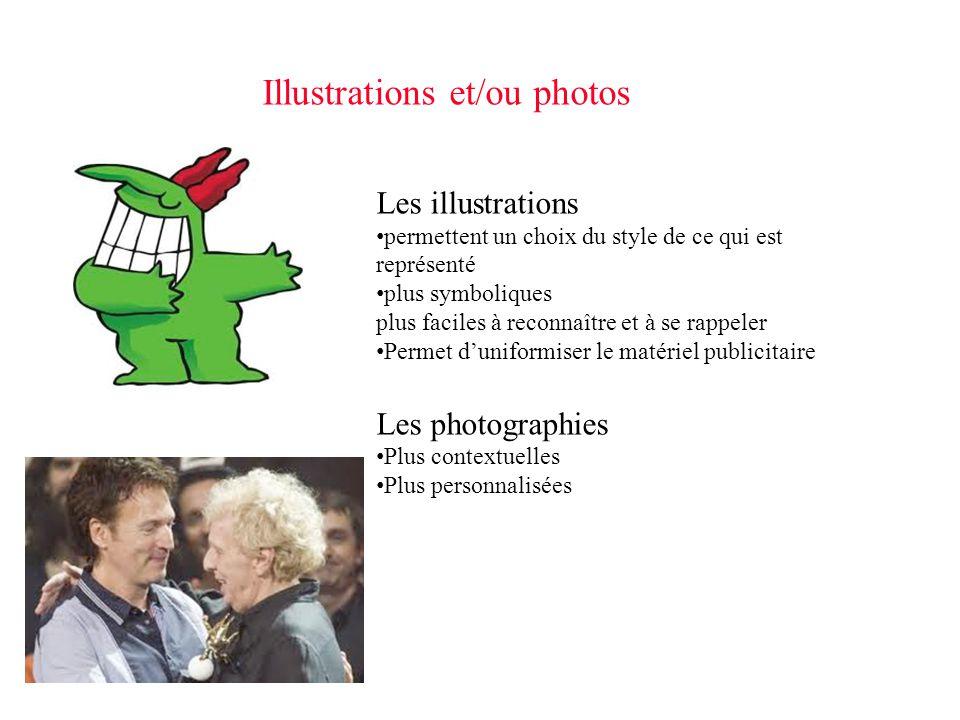 Illustrations et/ou photos Les illustrations permettent un choix du style de ce qui est représenté permettent un choix du style de ce qui est représen