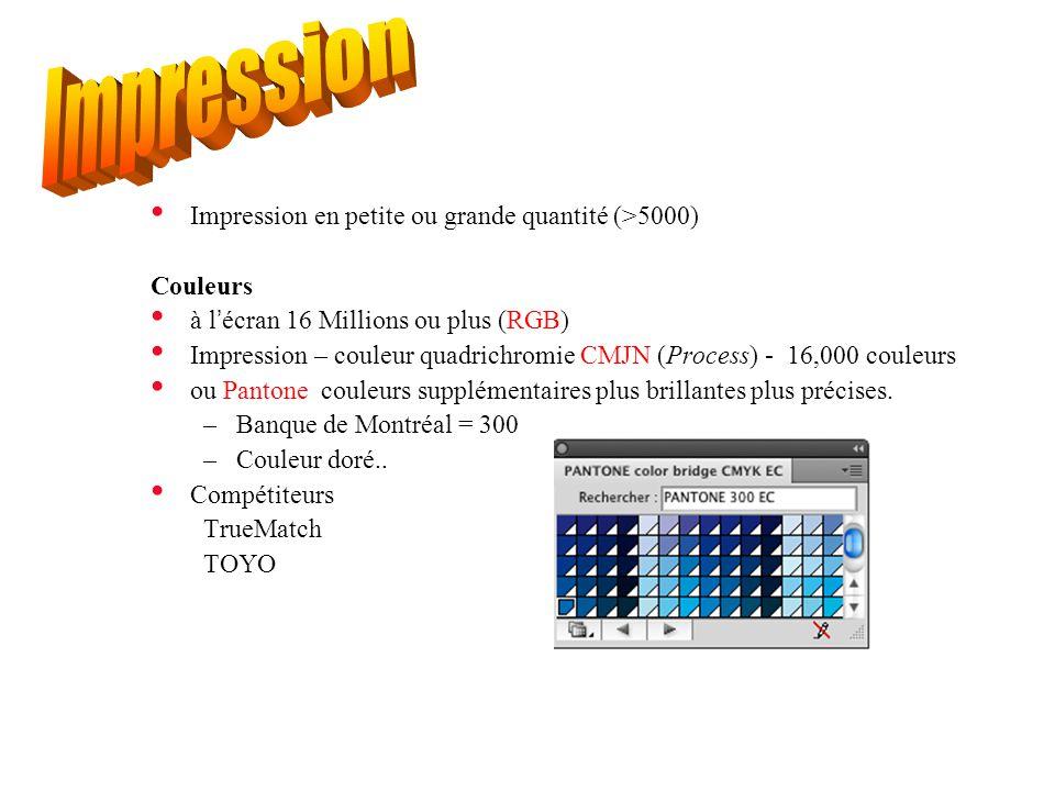 Impression en petite ou grande quantité (>5000) Couleurs à l'écran 16 Millions ou plus (RGB) Impression – couleur quadrichromie CMJN (Process) - 16,00
