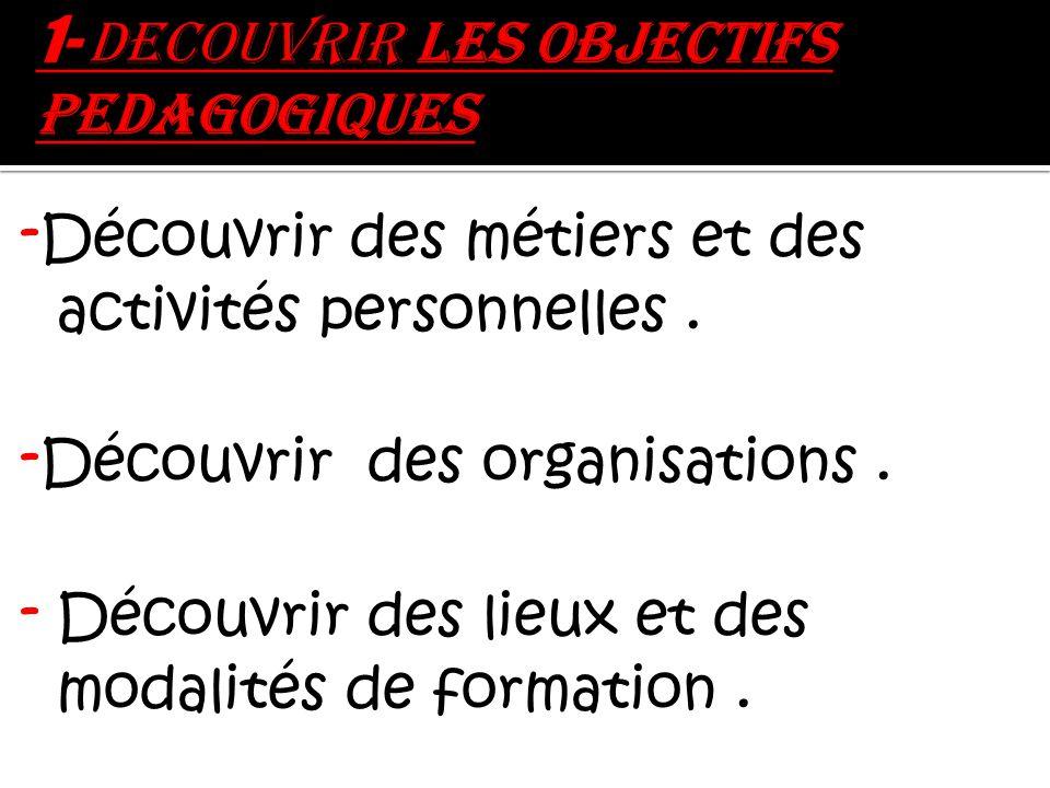 - Découvrir des métiers et des activités personnelles.