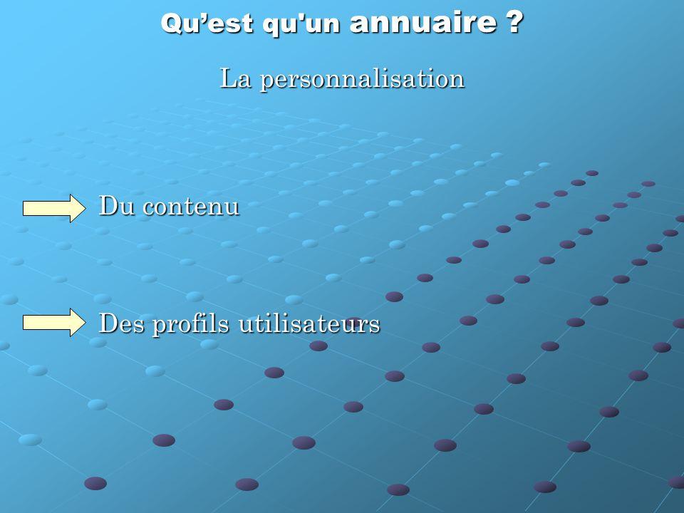 Qu'est qu un annuaire La personnalisation Du contenu Des profils utilisateurs
