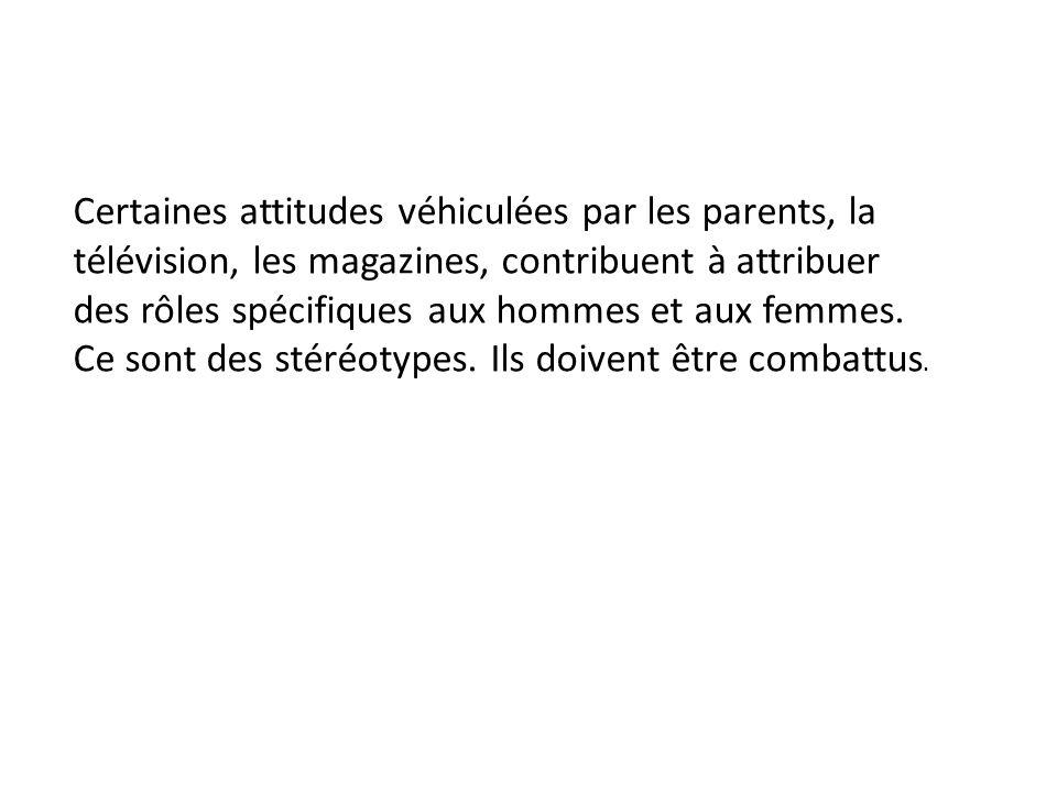 Certaines attitudes véhiculées par les parents, la télévision, les magazines, contribuent à attribuer des rôles spécifiques aux hommes et aux femmes.