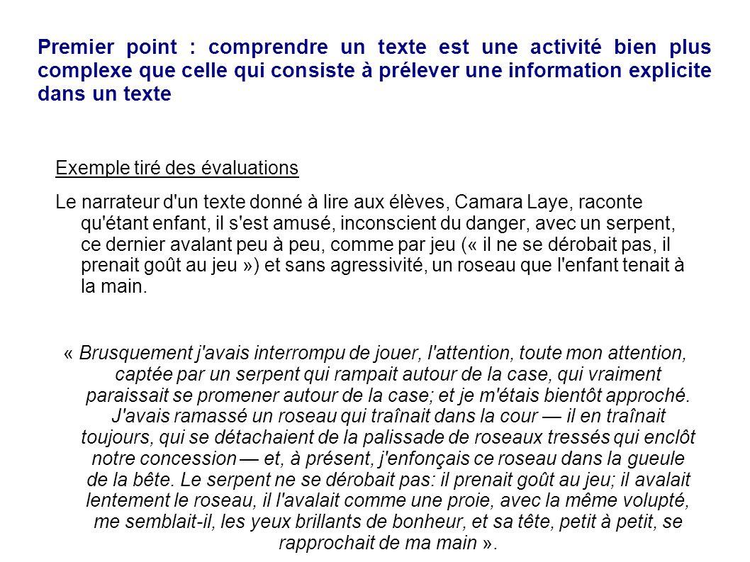 Premier point : comprendre un texte est une activité bien plus complexe que celle qui consiste à prélever une information explicite dans un texte Exem
