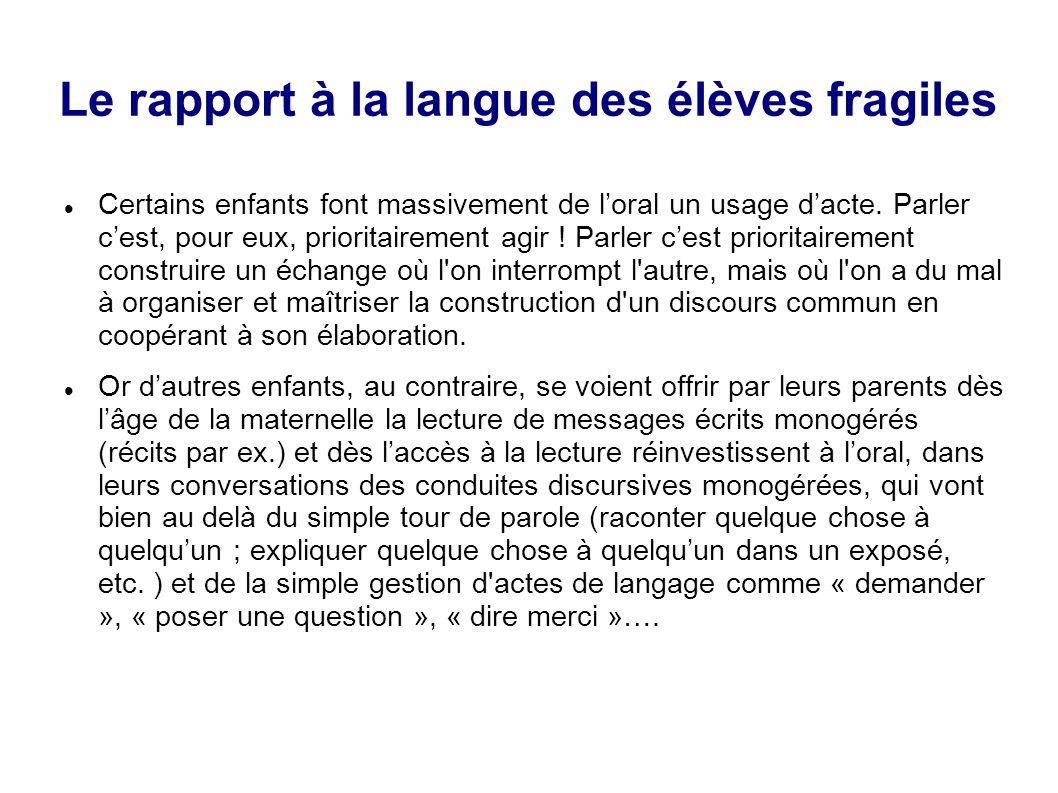 Le rapport à la langue des élèves fragiles Certains enfants font massivement de l'oral un usage d'acte. Parler c'est, pour eux, prioritairement agir !