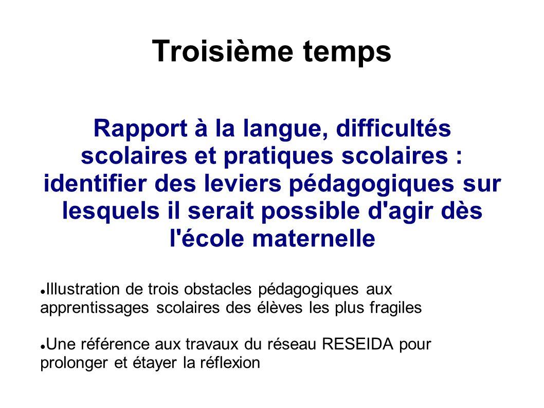 Troisième temps Rapport à la langue, difficultés scolaires et pratiques scolaires : identifier des leviers pédagogiques sur lesquels il serait possibl