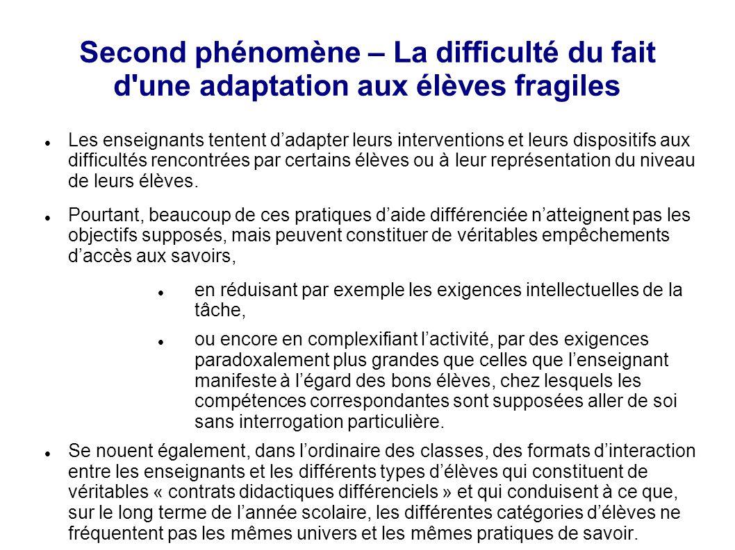 Second phénomène – La difficulté du fait d'une adaptation aux élèves fragiles Les enseignants tentent d'adapter leurs interventions et leurs dispositi